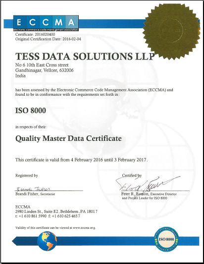 Quality Master Data Certificate